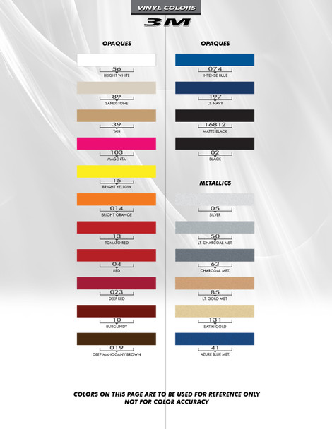 3M color chart for 2016 Chevy Camaro Center Stripes 3M HERITAGE 2016 2017 2018