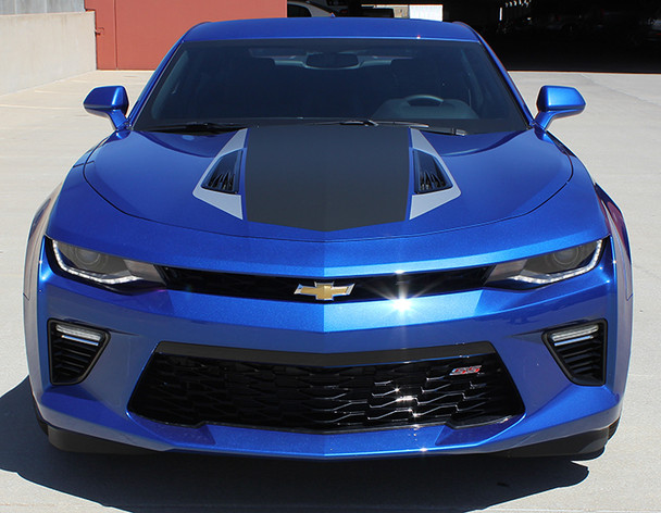 front of blue 2016 Chevy Camaro Center Stripes 3M HERITAGE 2016 2017 2018