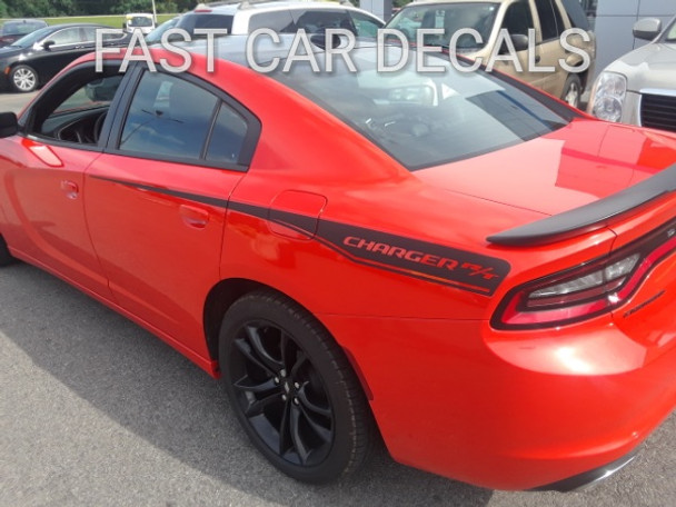 rear angle of orange 2016 Dodge Charger Vinyl Graphics 15 RECHARGE 2015-2021