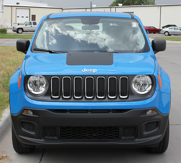 front of blue Jeep Renegade Hood Decals RENEGADE HOOD 3M 2014-2018 2019
