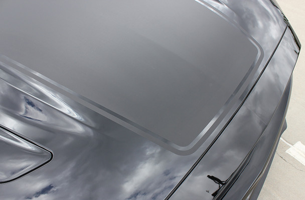 close up of Wide Hood Stripe Graphic for Mustang MEGA HOOD 2015-2017