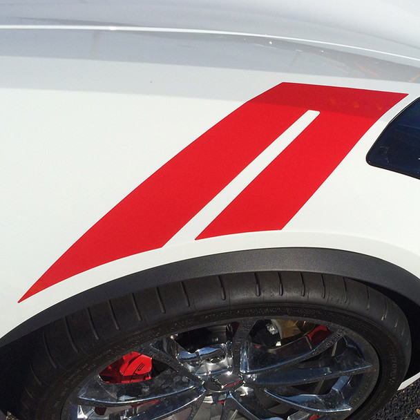 close up of white Chevy Corvette Fender Decals C7 HASHMARK 3M 2014-2018 2019