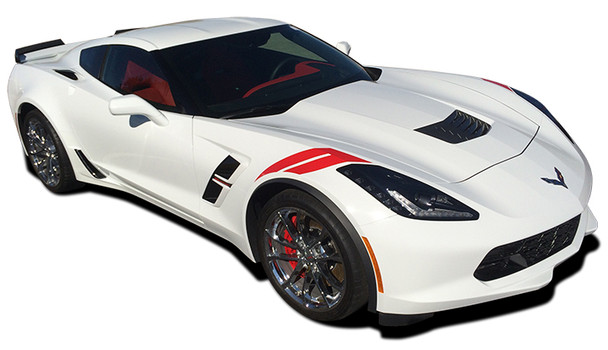 profile of white Chevy Corvette Fender Decals C7 HASHMARK 3M 2014-2018 2019