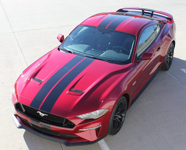 front angle of 2018 Ford Mustang Racing Stripes 3M STAGE RALLY 2018-2019