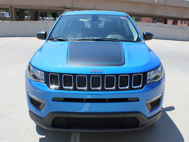 front of blue Jeep Compass Hood Stripe BEARING HOOD 3M 2017 2018 2019