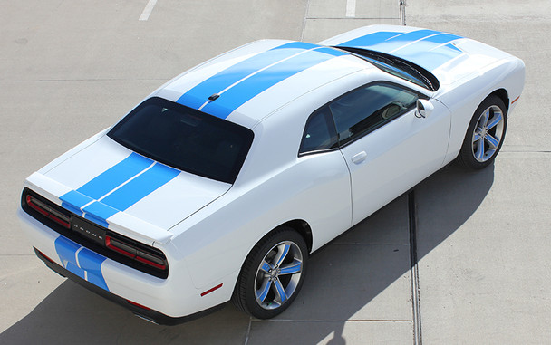 rear high view of 2017 Dodge Challenger Racing Stripes WING RALLY 2015-2019