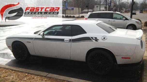 profile of HOT! Shaker, RT, Scat Pack Dodge Challenger Side Stripes 2015-2021