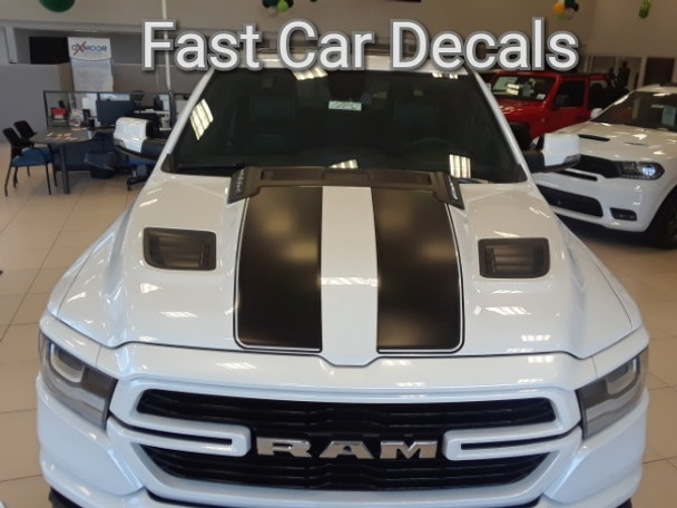front of white 2019 Dodge Ram 1500 Racing Stripes RAM RALLY 2019 2020 2021