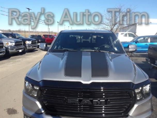 front of gray 2019 Dodge Ram 1500 Racing Stripes RAM RALLY 2019 2020 2021