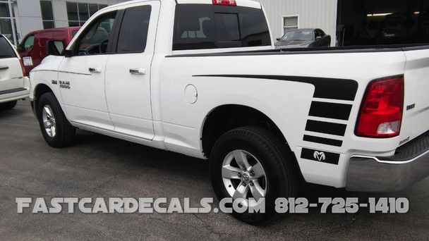 side of white NEW! OE style POWER WAGON Stripes 1500 Ram Truck 2009-2018