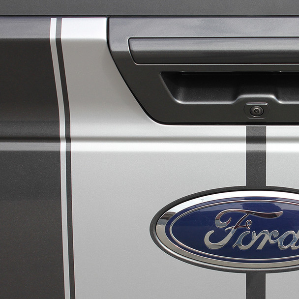 tailgate of Ford F150 Duel  Racing Stripes F-RALLY 2015 2016 2017 2018 2019
