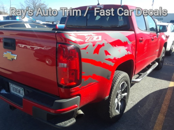 rear angle of red Chevy Colorado Mountain Graphics ANTERO 2015-2017 2018 2019