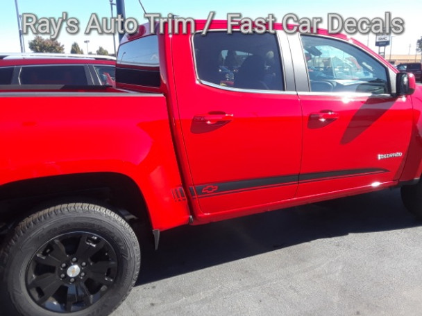side of red Chevy Colorado Rocker Graphics RATON 2015-2020