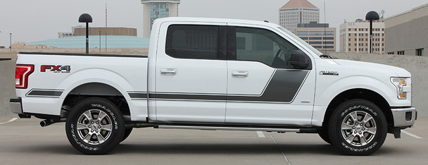 side of white 2017 Ford F150 Side Graphics FORCE 2 3M 2009-2017 2018 2019