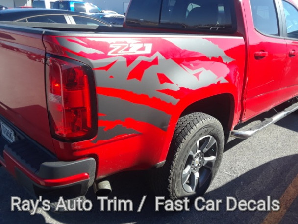 side of red Chevy Colorado Bed Vinyl Graphics ANTERO 2015 2016 2017 2018 2019