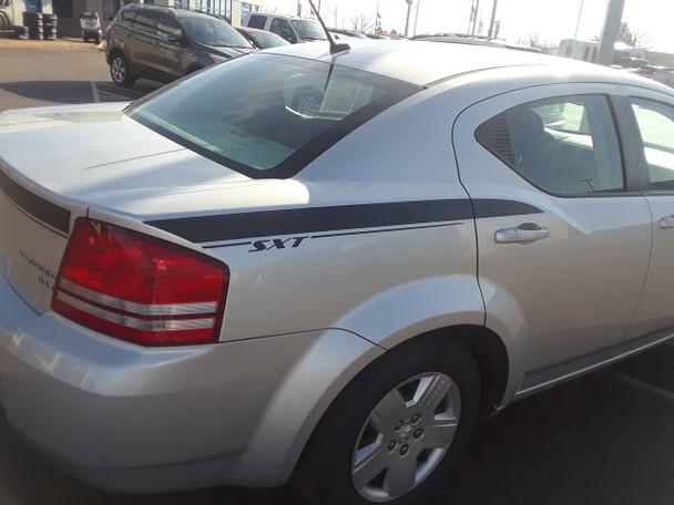 rear angle of Dodge Avenger Stripe Graphics AVENGED KIT 3M 2008-2013 2014