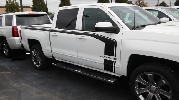 side of white 2017 Chevy Silverado Special Edition Graphics FLOW 2016-2018