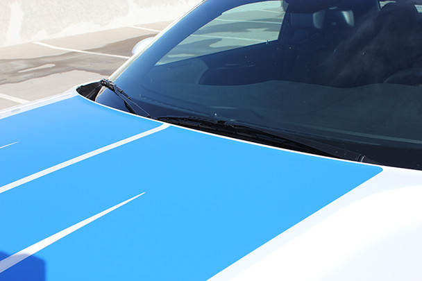 hood close up of 2016 Dodge Challenger Graphics Package WINGED RALLY 2015-2019