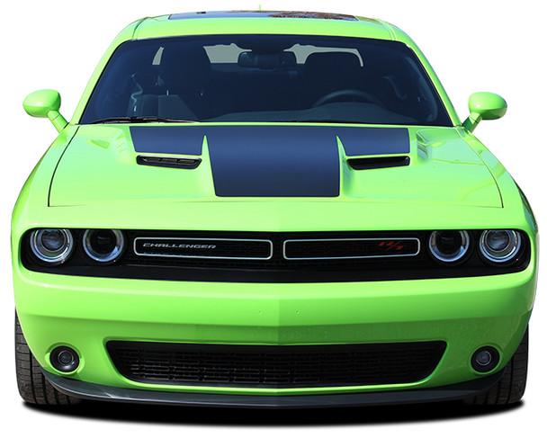 front of green 2018 Challenger RT Hood Stripes CHALLENGE HOOD 2015-2020