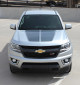 front of silver Chevy Colorado Hood Decals SUMMIT HOOD 2015-2020