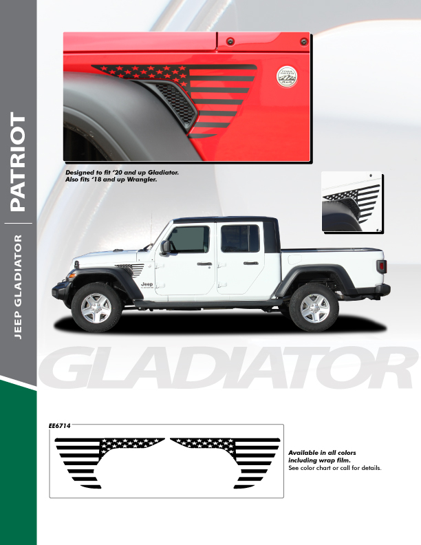 PATRIOT : Jeep Wrangler or Jeep Gladiator Side Vent Decals 2019-2021