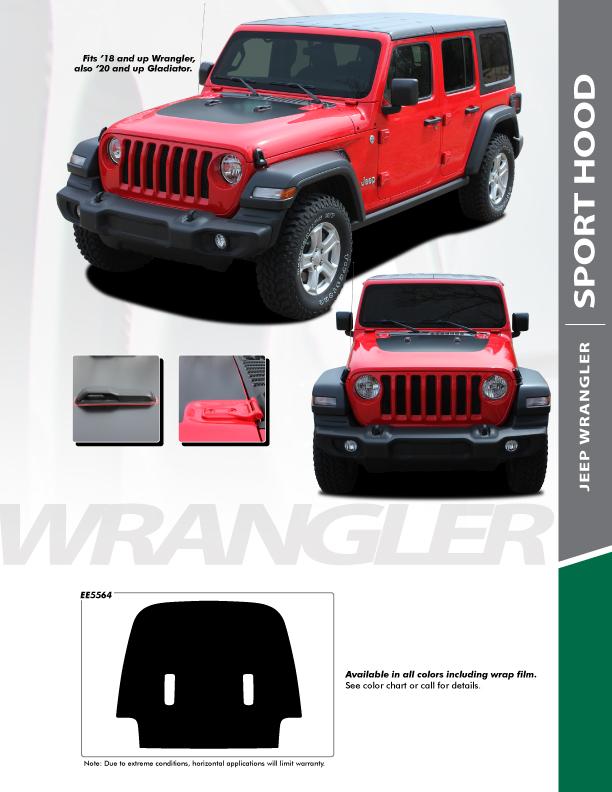 2020 Jeep Gladiator Hood Decals WRANGLER SPORT HOOD 2020-2021