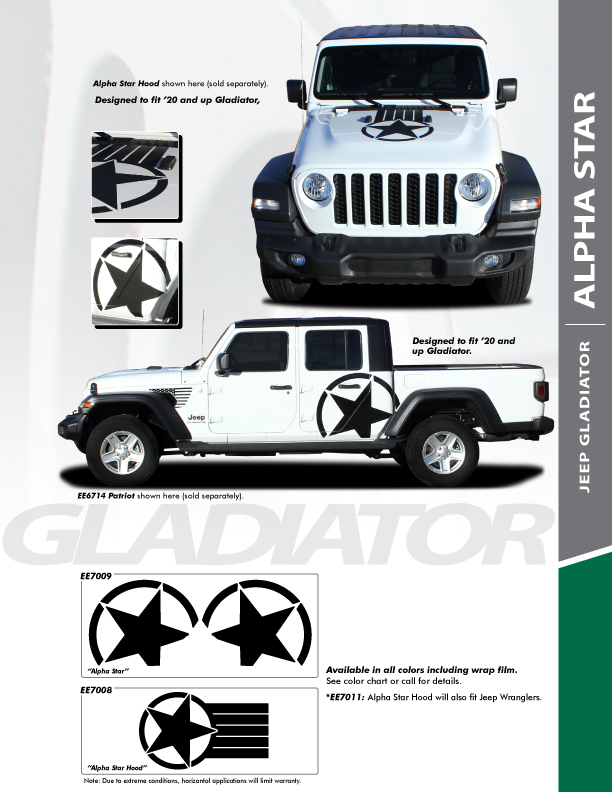 STAR Hood Stripes for Jeep Gladiator 2020-2021 ALPHA STAR HOOD