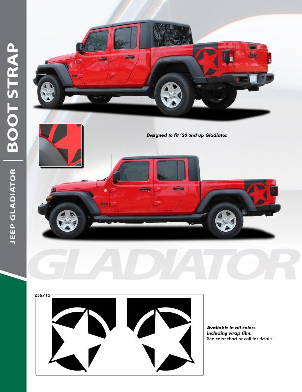 NEW! Style Rubicon Jeep Gladiator Star Stripes BOOTSTRAP 2020-2021 Ray's Auto Trim