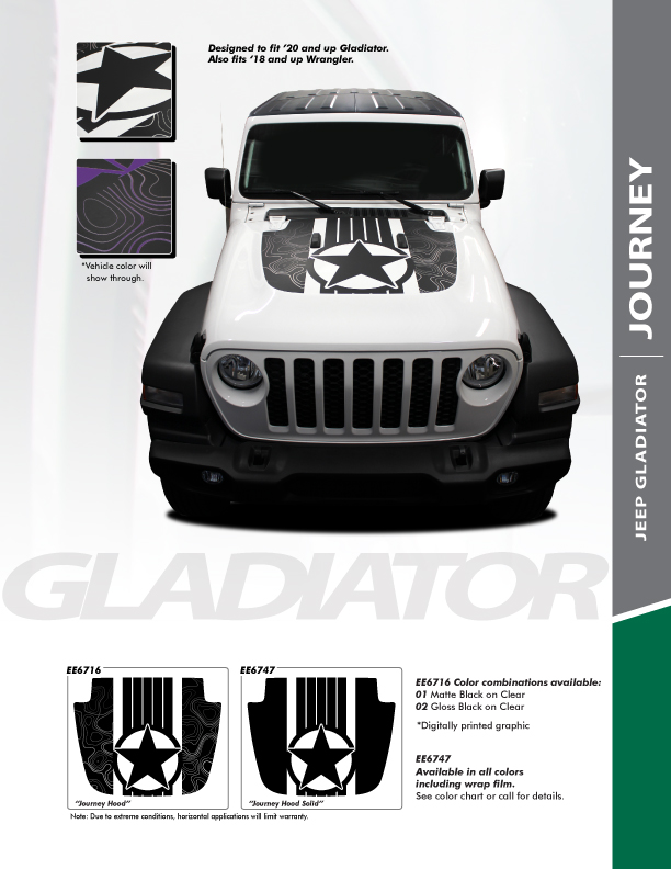 2020 Jeep Wrangler/Gladiator Hood Decals JOURNEY HOOD