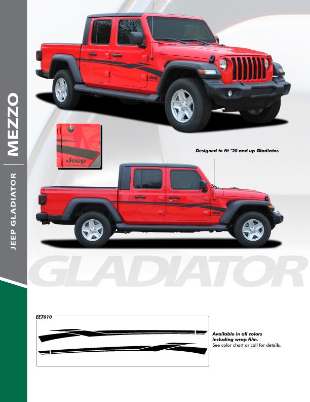 NEW! Jeep Gladiator Side Stripe Graphics 2020-2021 MEZZO SIDE KIT