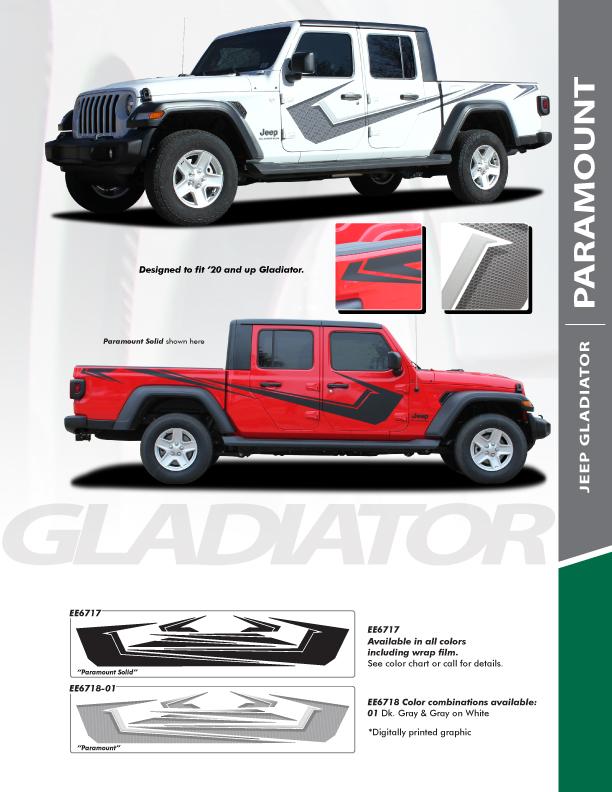 PARAMOUNT : 2020-2021 Jeep Gladiator Side Stripe Graphics Kit