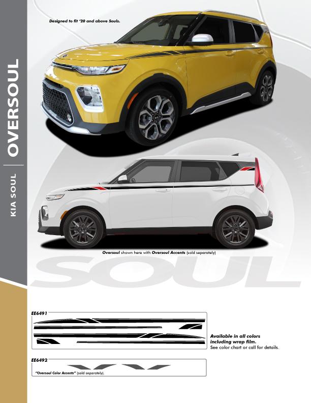 2022 Kia Soul Side Stripe Graphics OVERSOUL SIDE KIT 2020-2022