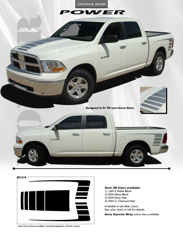NEW! OE style POWER WAGON Stripes 1500 Ram Truck 2009-2018