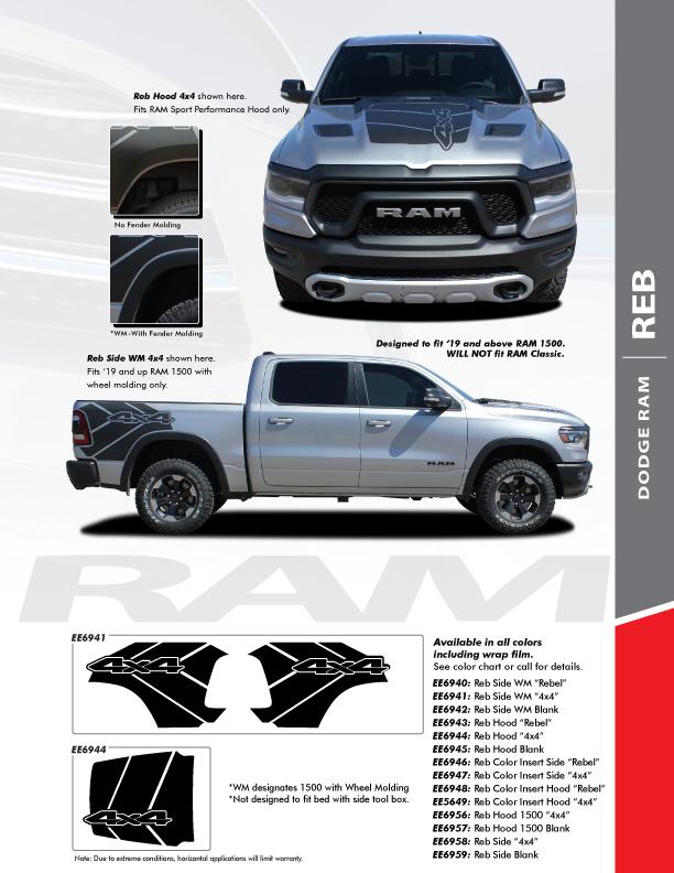 2020 Ram 1500 Rebel REB SIDE Graphics Stripes 2019-2021