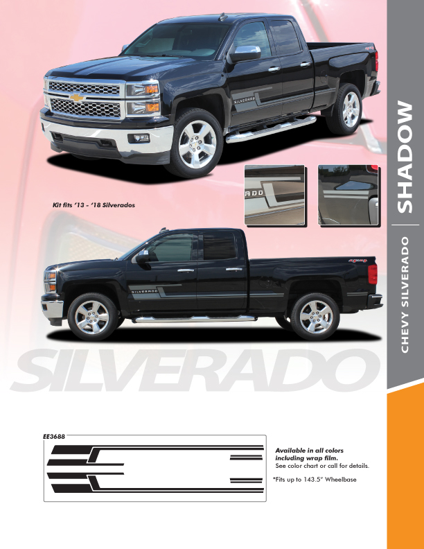 Chevy Truck Decals Graphics SHADOW 2013-2016 2017 2018