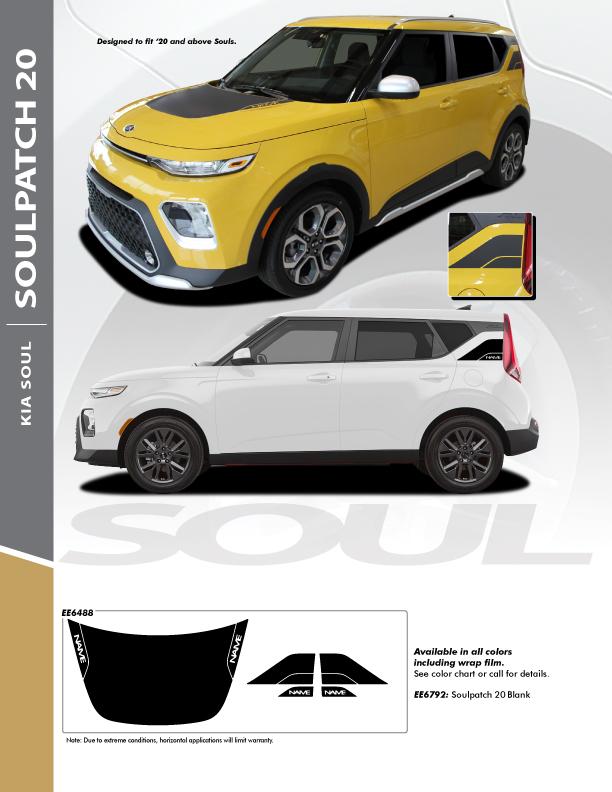 2021 Kia Soul Vinyl Graphics SOULPATCH STRIPE KIT 20 2020-2022