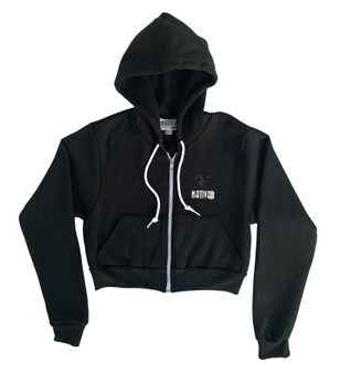 Mia Crop Zip Hoodie Black