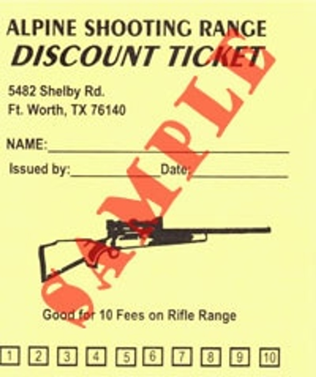 Sample of a Range Discount Card
