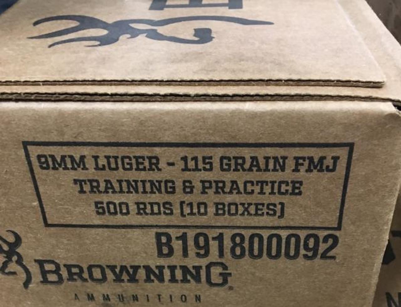 Browning 9mm 115gr Training & Practice Full Metal Jacket Ammunition B191800092