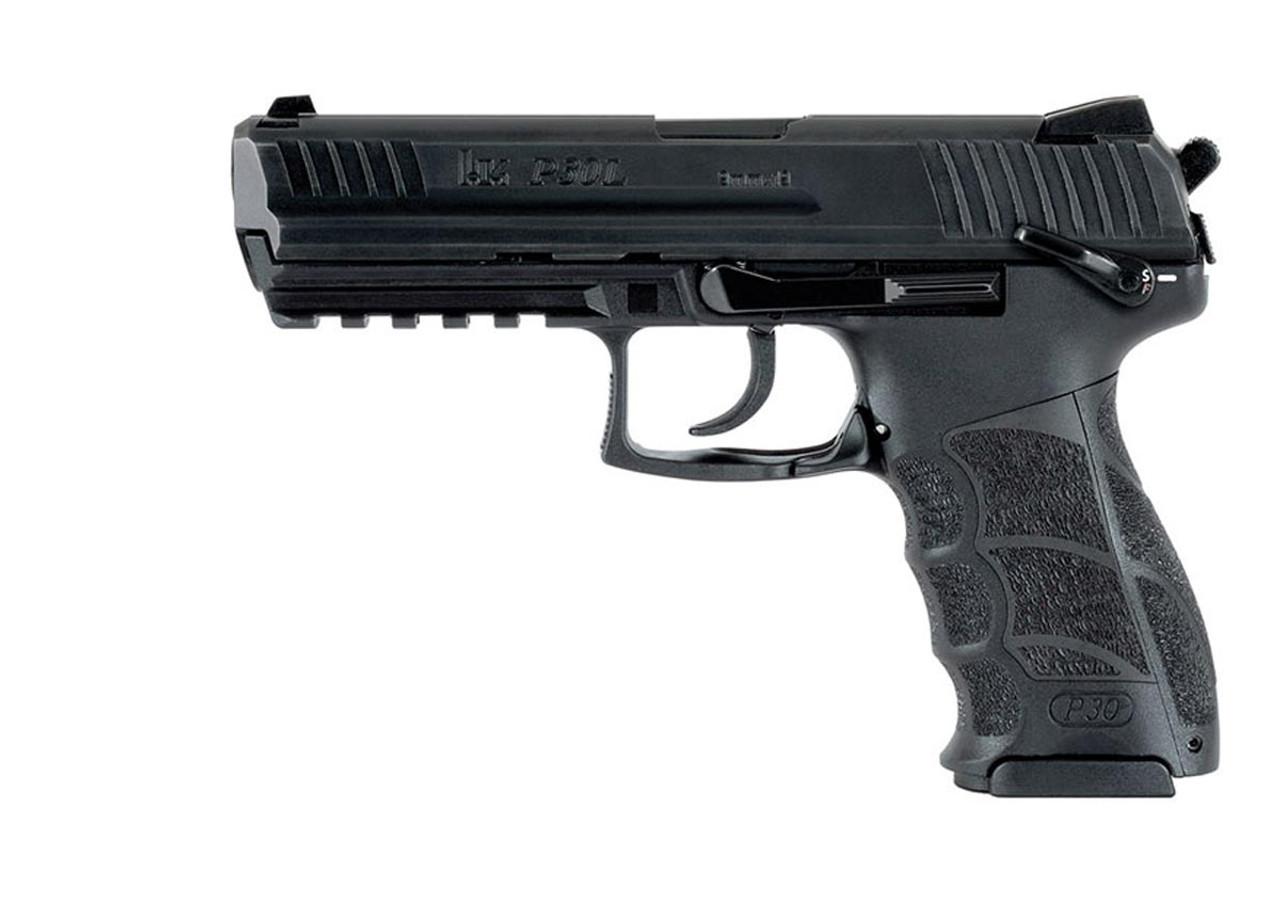 Heckler & Koch P30L 9mm, Long Slide (V3) 730903LLE‐A5 DA/SA, rear decocking button, three 15rd magazines and night sights 642230248816