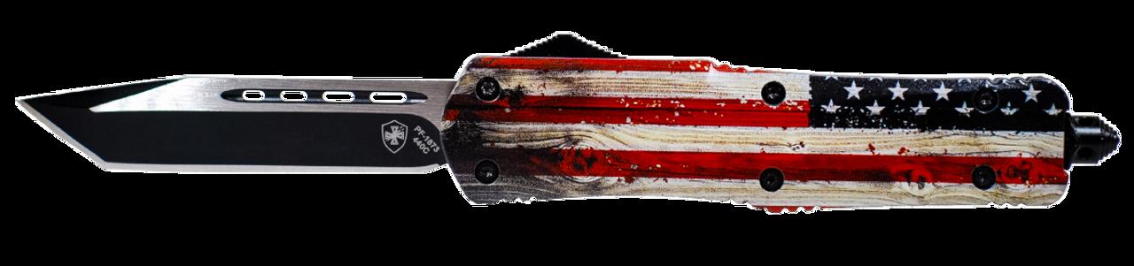 Templar Knife Wood Us Flag, Temp Lwus231  Large Wood Us Flag Tanto 440c Black