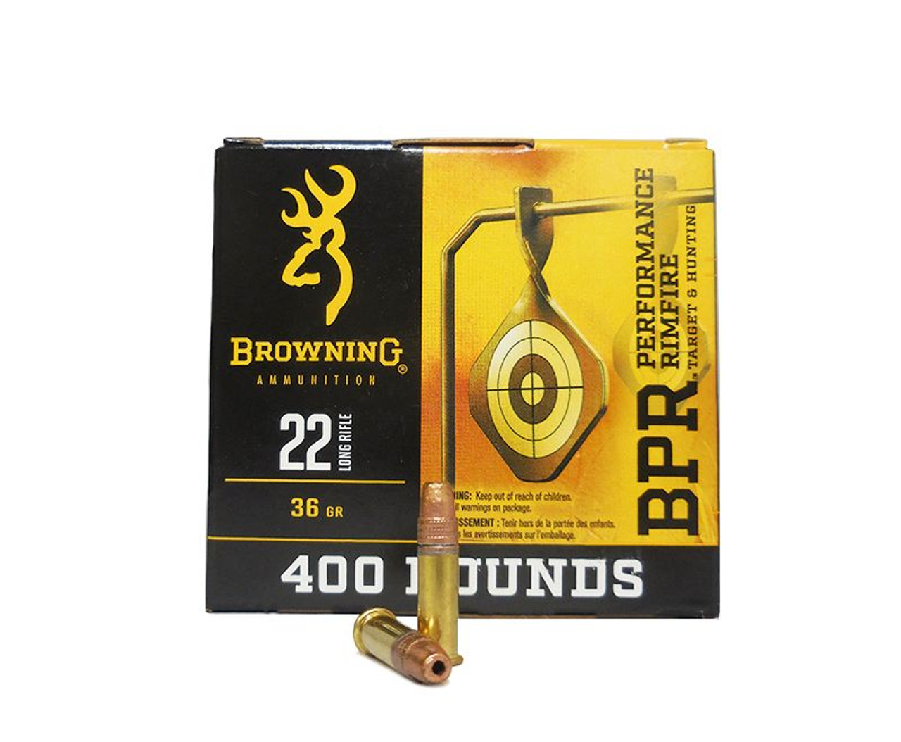 Browning Performance Rimfire (BPR) 22 Long Rifle - 36gr Plated Hollow Points - 1600 round case