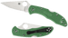 "Spyderco C11FPGR Folding Delica4 Flat Ground     Blade Length 2.88""   VG10 Plain Blade Green Handle"