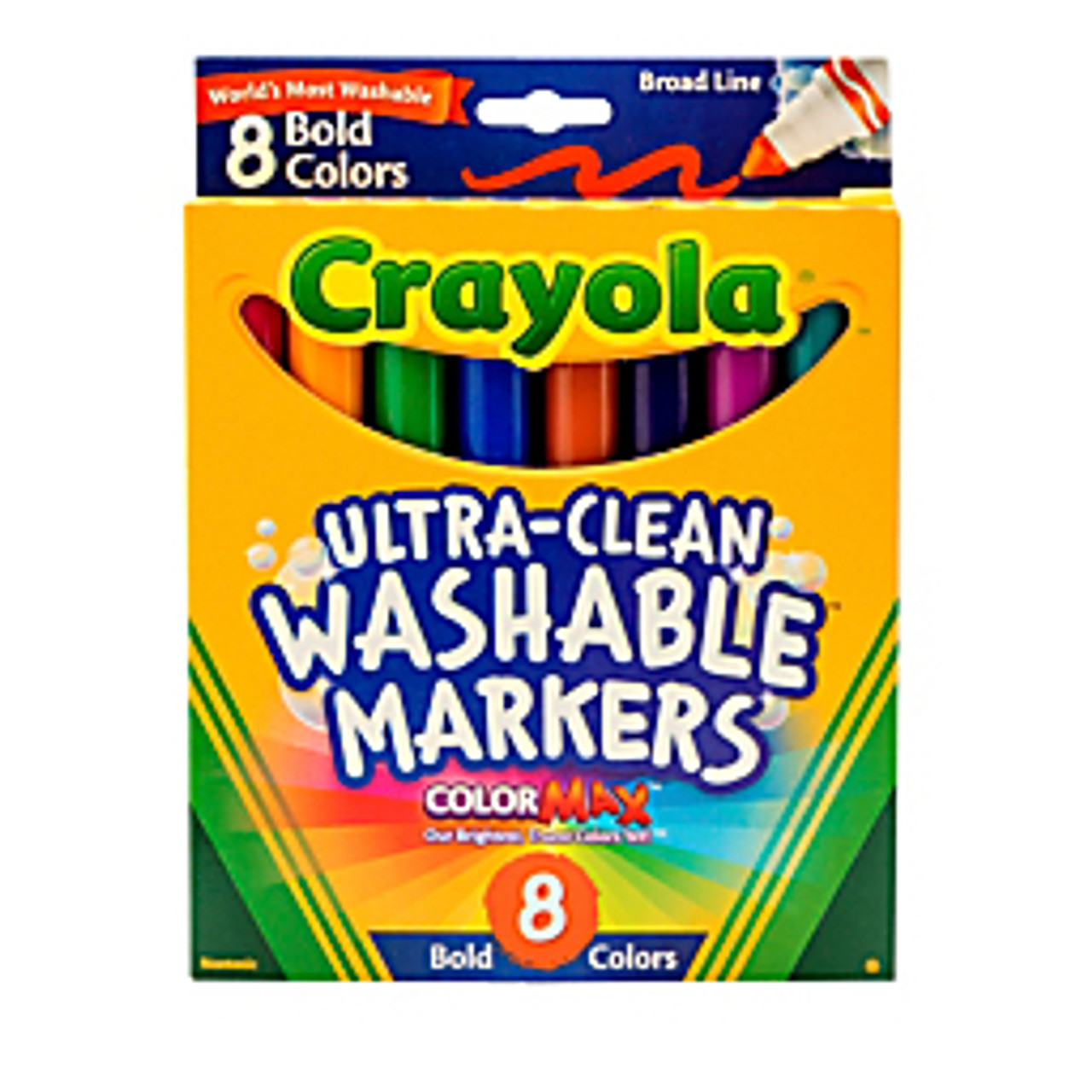 Assorted Bold Colors Crayola Washable Markers 58-7832 Broad Line Pack of 8