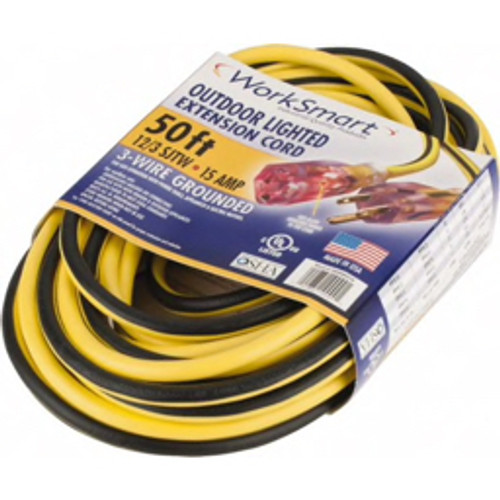 WorkSmart™ - Power Cords - 50', 12/3 Gauge/conductors, Yellow/black Outdoor Extension Cord