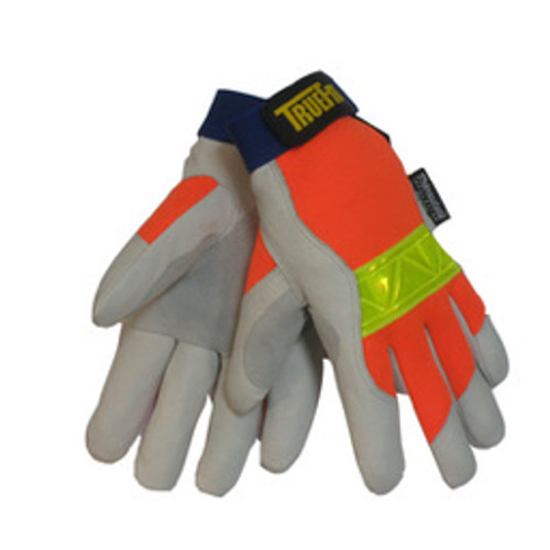 Tillman™ - Gloves - Gloves - Gray, Orange and Yellow Reflective TrueFit™ Pigskin Thinsulate™ Lined Cold Weather Gloves 2X