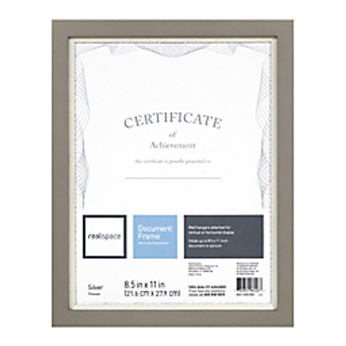 Realspace® - Certificate Frame - Muse Document Frame 11inh x 13 1-2inw x 1ind, Silver-white - CA of 6