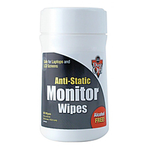 Dust-Off® - Tech Wipes - Electronics Dust-Off™ Antistatic Monitor Wipes - Anti-Static Screen Clean Wipe - PK of 80
