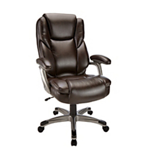 """Realspace® - Chair - Cressfield High-Back Bonded Leather Chair - 42-15-16 - 46-11-16"""" h x 28-3-8"""" w x 31-5-16"""" d - Brown-Silver"""