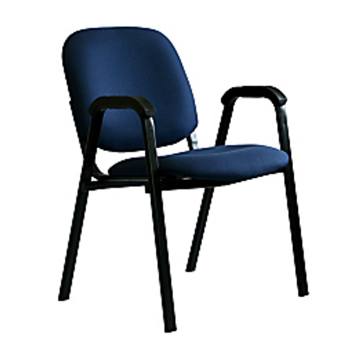 "Office-Stor Plus - Chair - Officestor Plus Stacking Guest Chair with Arms, 33-1-4"" h x 22-1-2"" w x 24-1-4"" d, Black Frame-blue Seat"